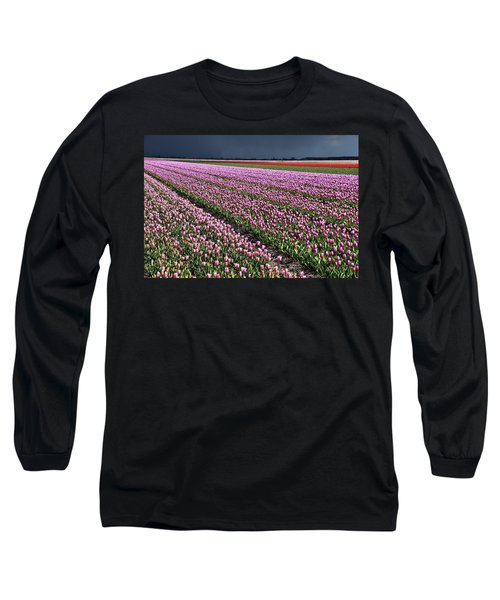 Half Side Purple Tulip Field Long Sleeve T-Shirt by Mihaela Pater