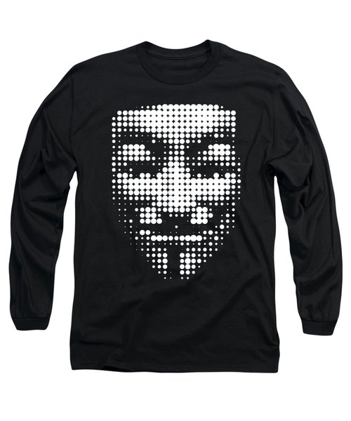 Halftone Anonymous Face  Long Sleeve T-Shirt