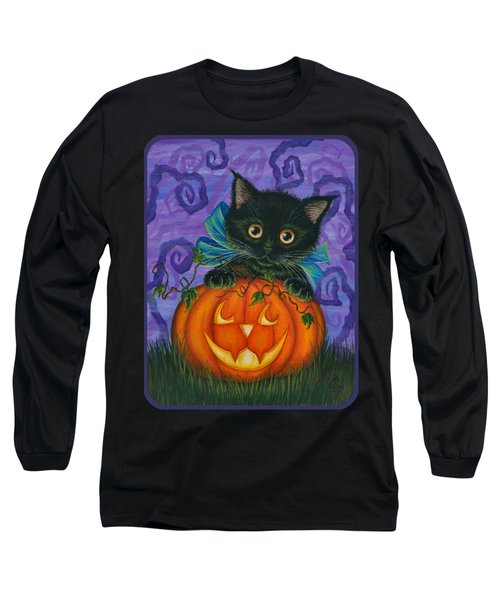 Halloween Black Kitty - Cat And Jackolantern Long Sleeve T-Shirt