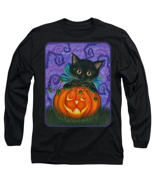 Halloween Black Kitty - Cat And Jackolantern Long Sleeve T-Shirt