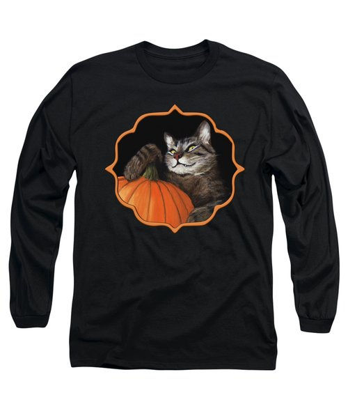 Long Sleeve T-Shirt featuring the painting Halloween Cat by Anastasiya Malakhova