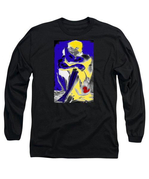 Original Contemporary Painting A Handsome Nude Man Long Sleeve T-Shirt by RjFxx at beautifullart com