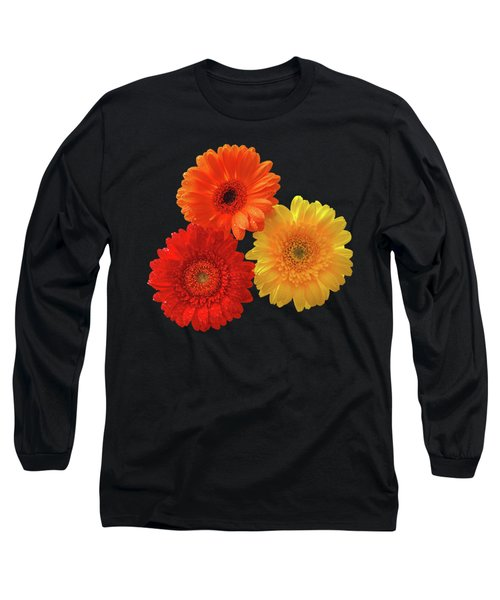 Happiness - Orange Red And Yellow Gerbera On Black Long Sleeve T-Shirt by Gill Billington
