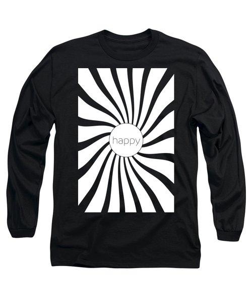 Happy - Black And White Swirl Long Sleeve T-Shirt