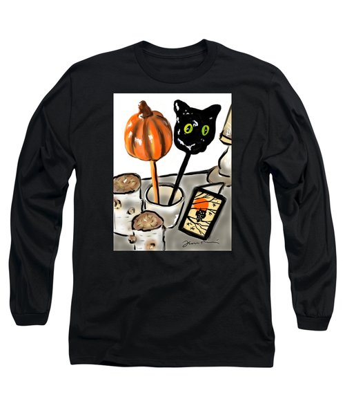 Long Sleeve T-Shirt featuring the painting Happy Halloween by Jean Pacheco Ravinski