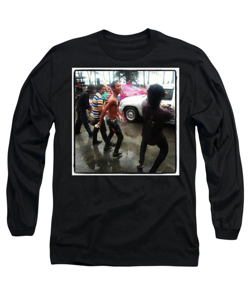 Long Sleeve T-Shirt featuring the photograph Happy Songkran. The Water Splashing by Mr Photojimsf