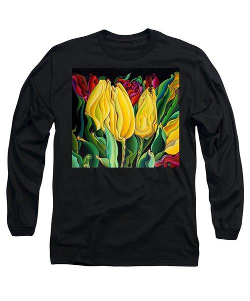 Happy-time Yellow Three-lips Long Sleeve T-Shirt