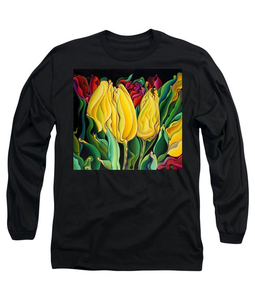 Happy-time Yellow Three-lips Long Sleeve T-Shirt