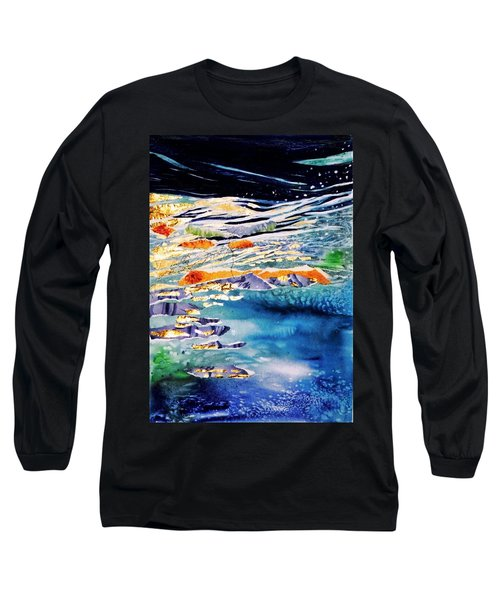 Long Sleeve T-Shirt featuring the painting Harmony In Blue And Gold  by Trudi Doyle