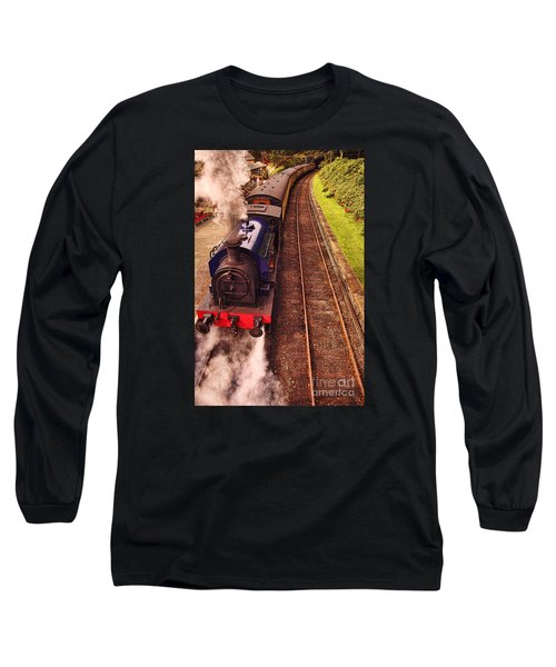 Harry Potters Haverthwaite Railway Station Long Sleeve T-Shirt by Graham Hawcroft pixsellpix
