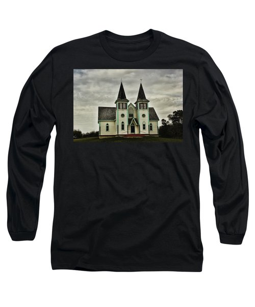 Long Sleeve T-Shirt featuring the photograph Haunted Kipling Church by Ryan Crouse