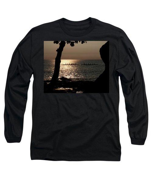 Hawaiian Dugout Canoe Race At Sunset Long Sleeve T-Shirt by Michael Bessler