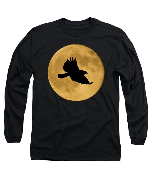 Hawk Flying By Full Moon Long Sleeve T-Shirt