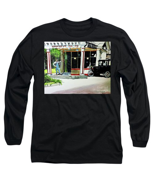 Long Sleeve T-Shirt featuring the painting Hawkeye Oil Co by Tom Riggs