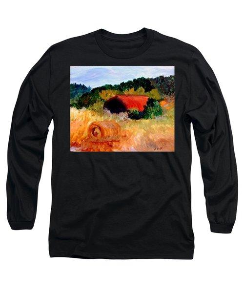 Long Sleeve T-Shirt featuring the painting Hayrolls by Gail Kirtz