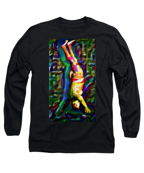 Headstand Naked Unconventional Figure Portrait Painting Bright Colorful Gymnastics Old Man Nude Male Men Athletic Stomach Fat Feet Head Hands Rainbow Long Sleeve T-Shirt by MendyZ