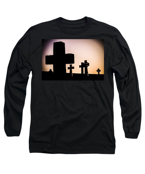 Headstones At Night, Peak District, England, Uk Long Sleeve T-Shirt