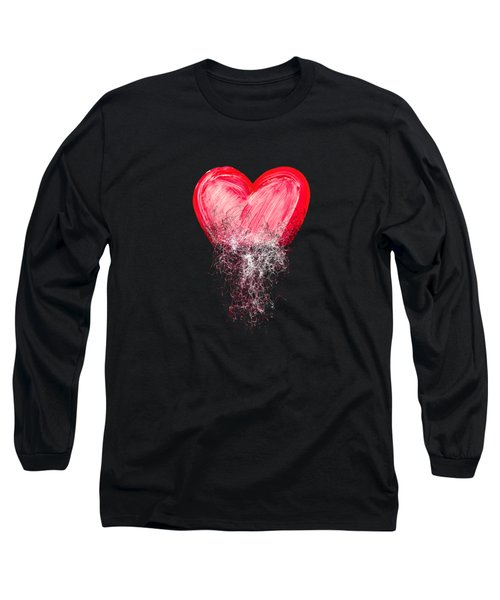 Heart Painted From Tangle Of Scribbles Long Sleeve T-Shirt by Michal Boubin