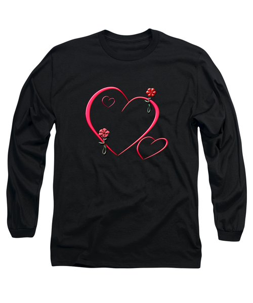 Hearts And Flowers Long Sleeve T-Shirt by Judy Hall-Folde