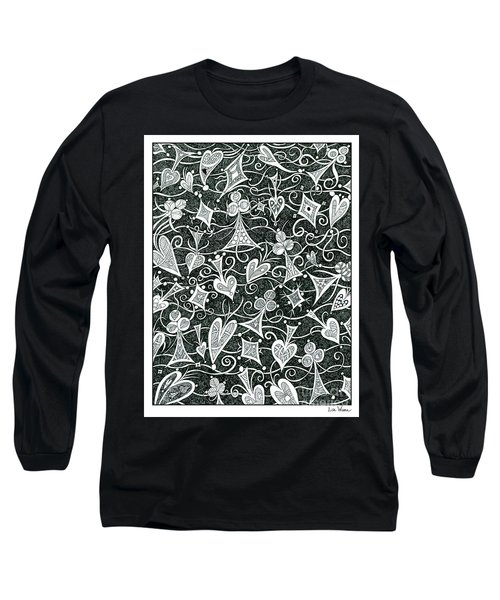 Hearts, Spades, Diamonds And Clubs In Black Long Sleeve T-Shirt