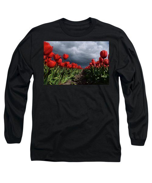 Heavy Clouds Over Red Tulips Long Sleeve T-Shirt by Mihaela Pater