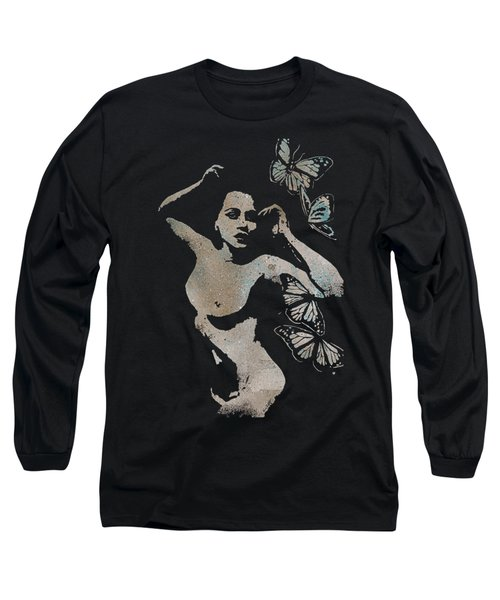 Heavy Crown - Nude Butterfly Pin Up Erotic Graffiti Long Sleeve T-Shirt