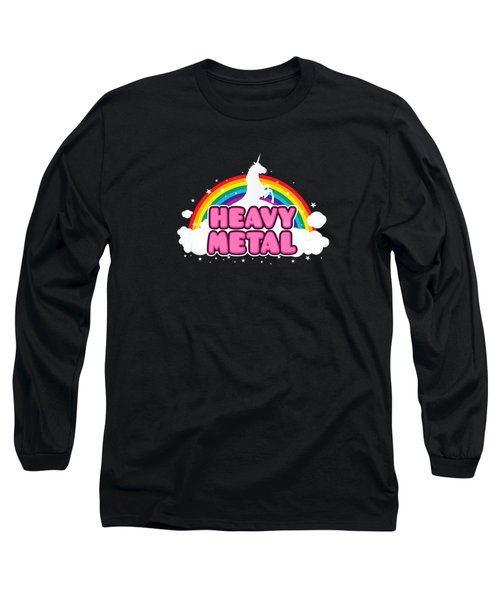 Heavy Metal Funny Unicorn  Rainbow Mosh Parody Design Long Sleeve T-Shirt