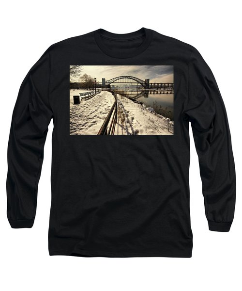 Hellgate Bridge In Winter Long Sleeve T-Shirt