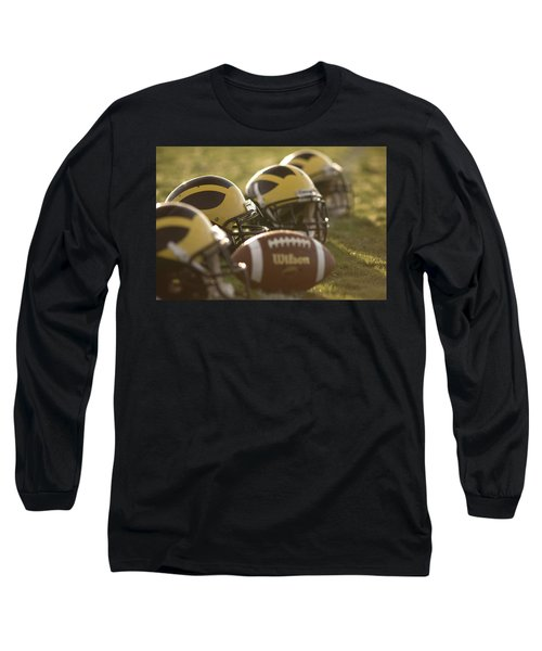 Helmets And A Football On The Field At Dawn Long Sleeve T-Shirt