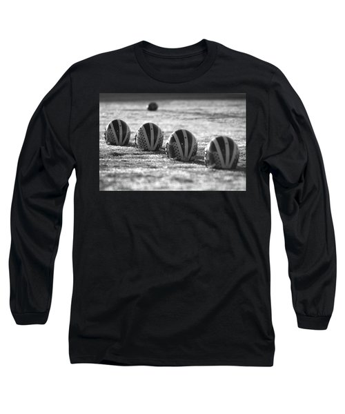 Helmets On Dew-covered Field At Dawn Black And White Long Sleeve T-Shirt