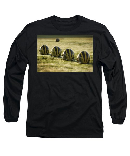 Helmets On Dew-covered Field At Dawn Long Sleeve T-Shirt