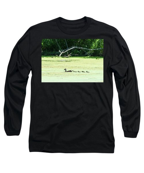 Hen And Baby Wood Ducks Long Sleeve T-Shirt by Edward Peterson