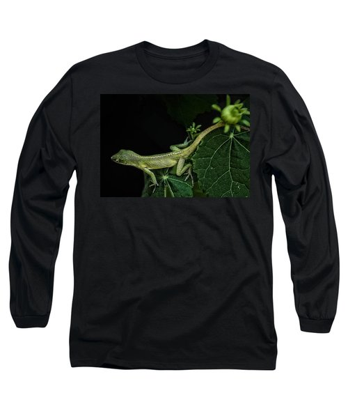 Long Sleeve T-Shirt featuring the mixed media Here Lizard Lizard by Kim Henderson