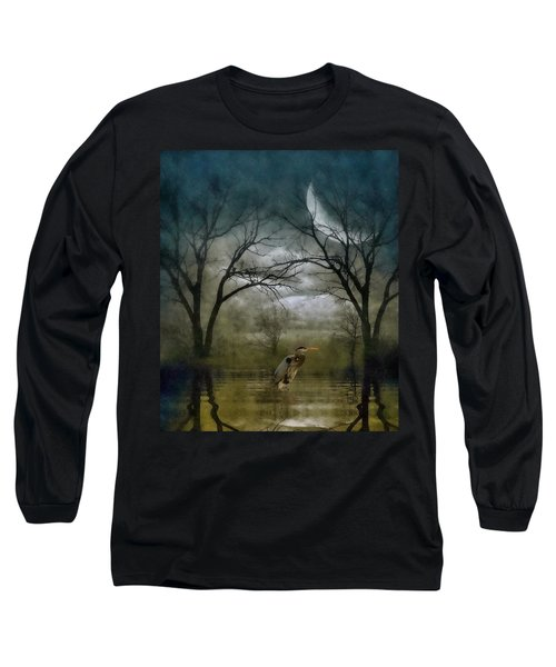 Heron By Moon Glow  Long Sleeve T-Shirt by Andrea Kollo