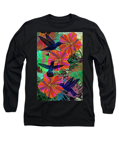 Hibiscus And Hummers Long Sleeve T-Shirt