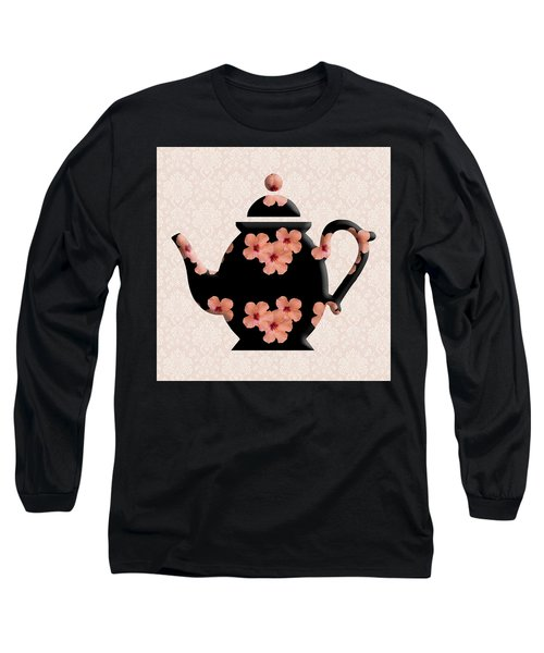 Hibiscus Pattern Teapot Long Sleeve T-Shirt