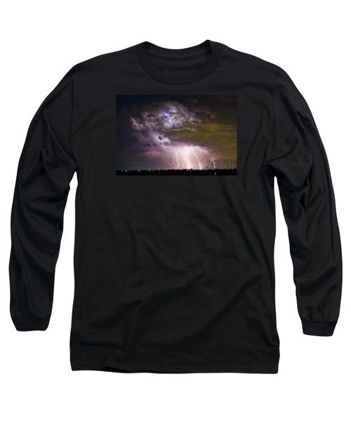Highway 52 Storm Cell - Two And Half Minutes Lightning Strikes Long Sleeve T-Shirt