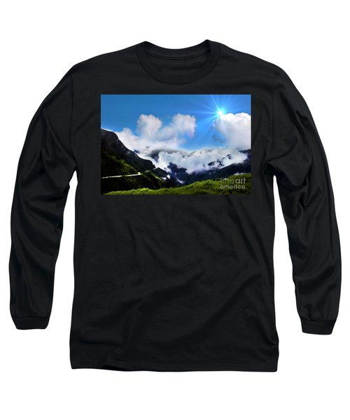 Long Sleeve T-Shirt featuring the photograph Highway Through The Andes - Painting by Al Bourassa