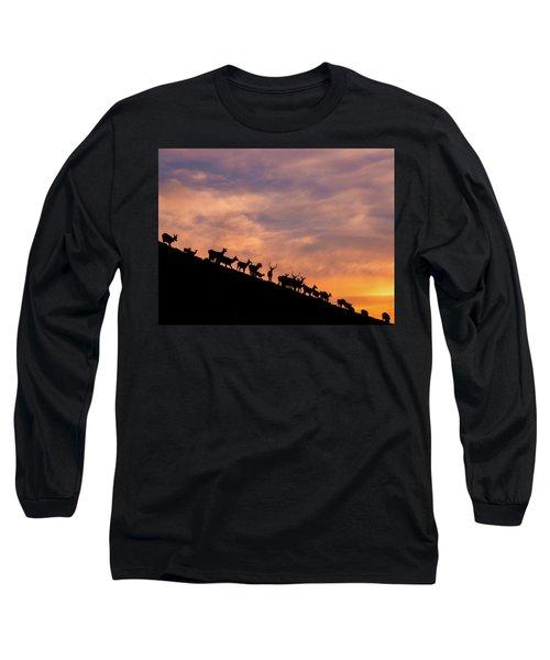 Long Sleeve T-Shirt featuring the photograph Hillside Elk by Darren White