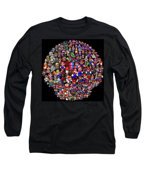 History Of Mario Mosaic Long Sleeve T-Shirt