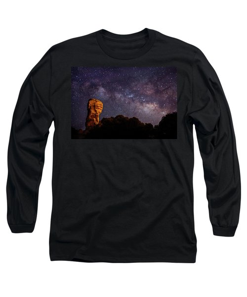 Hitchcock Pinnacle Nightscape -- Milky Way Long Sleeve T-Shirt