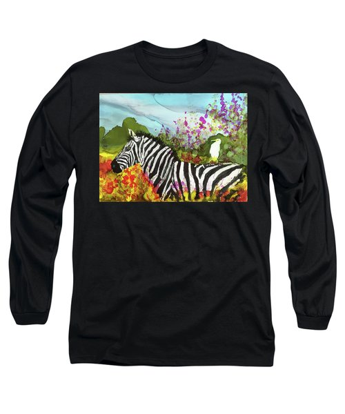 Hitching A Ride Long Sleeve T-Shirt by Suzanne Canner