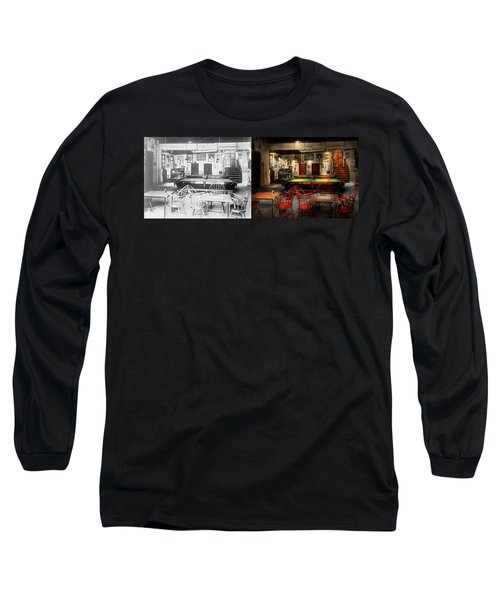 Long Sleeve T-Shirt featuring the photograph Hobby - Pool - The Billiards Club 1915 - Side By Side by Mike Savad