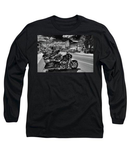 Hogs On Main Street Long Sleeve T-Shirt by David Patterson