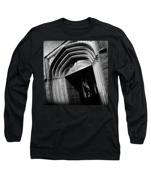 Long Sleeve T-Shirt featuring the mixed media Hogwards Door  by Gina Dsgn