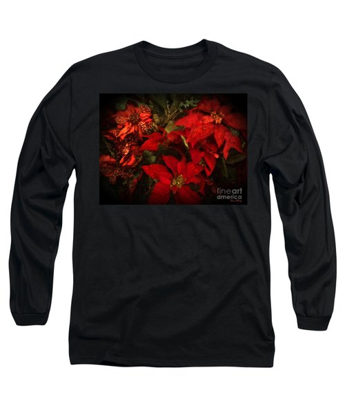 Holiday Painted Poinsettias Long Sleeve T-Shirt