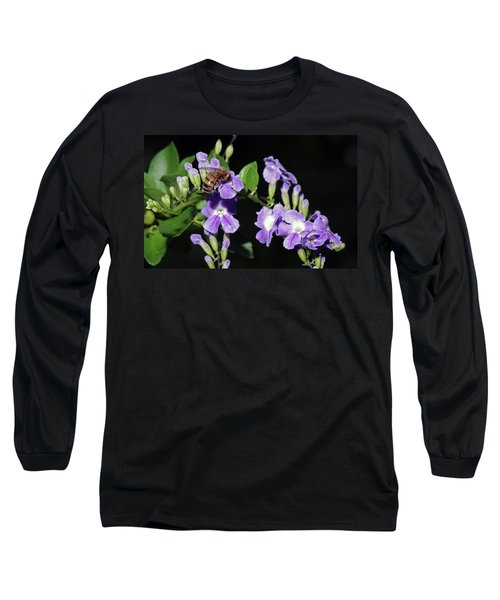 Long Sleeve T-Shirt featuring the photograph Honeybee On Golden Dewdrop II by Richard Rizzo