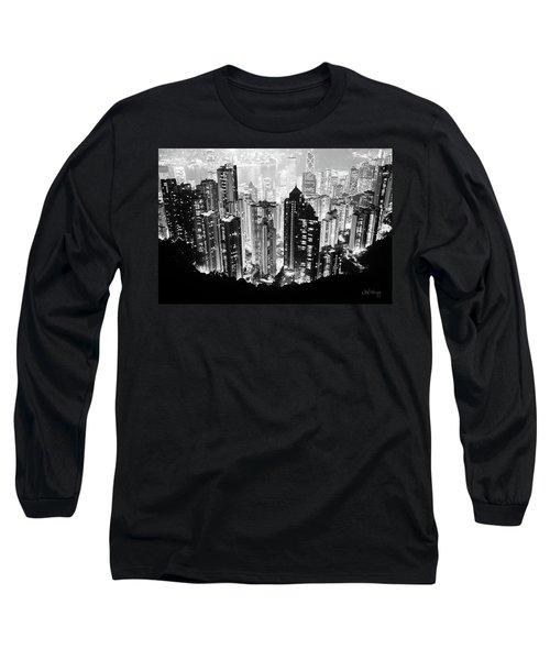 Hong Kong Nightscape Long Sleeve T-Shirt by Joseph Westrupp