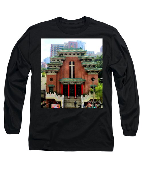 Long Sleeve T-Shirt featuring the photograph Hong Kong Temple by Randall Weidner