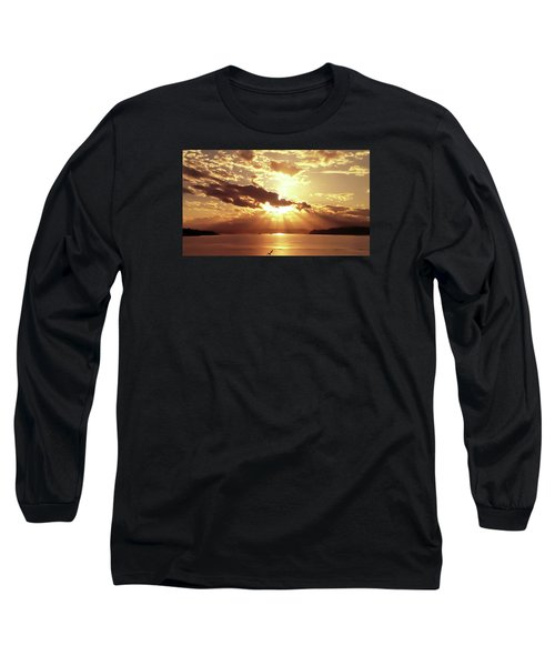 Hood Canal Sunset Long Sleeve T-Shirt by Eddie Eastwood